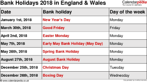 Bank Holidays 2018 in the UK. with printable templates