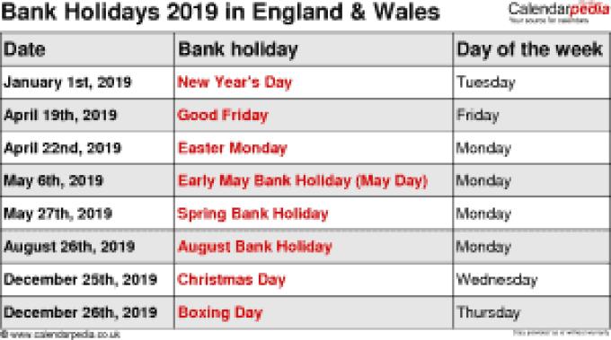 Christmas 2019 Bank Holidays.Bank Holidays 2019 Uk