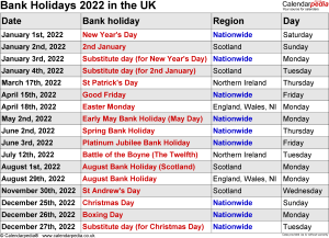 Bank Holidays 2022 in the UK, with printable templates