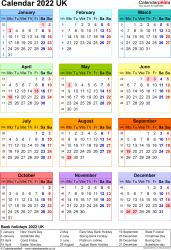 Calendar 2022 (UK) - 17 free printable PDF templates