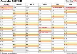 Calendar 2022 (UK) - 17 free printable PDF templates