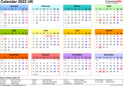 Calendar 2022 (UK) - 17 free printable Word templates