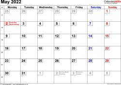 Calendar May 2022 UK, Bank Holidays, Excel/PDF/Word Templates