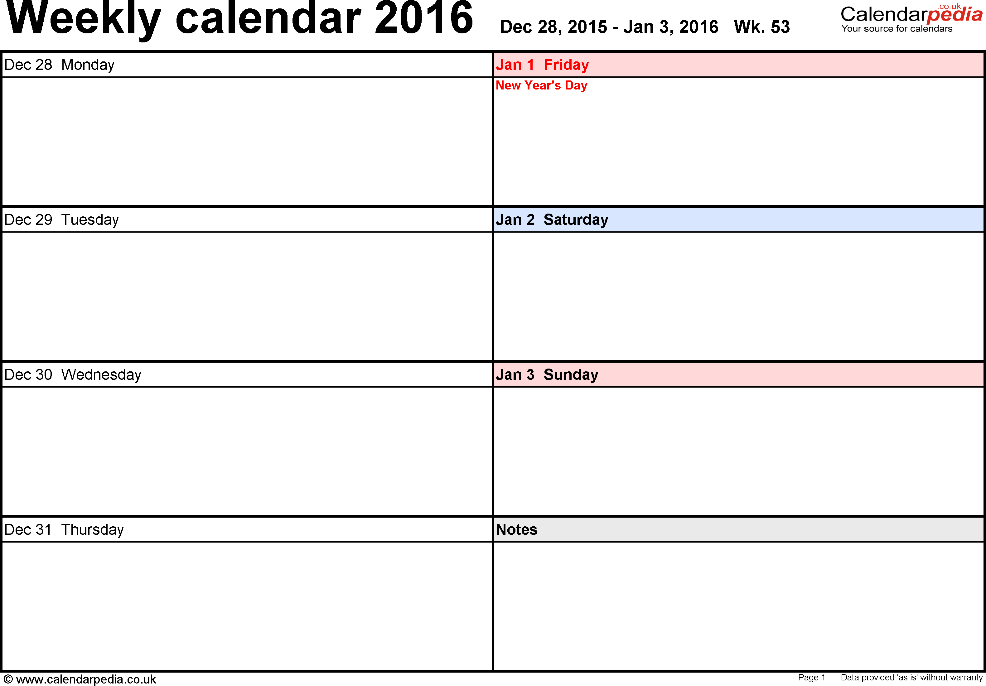 Excel Template 6: Weekly Calendar 2016, Landscape Orientation, Days  Horizontally, 53 Pages