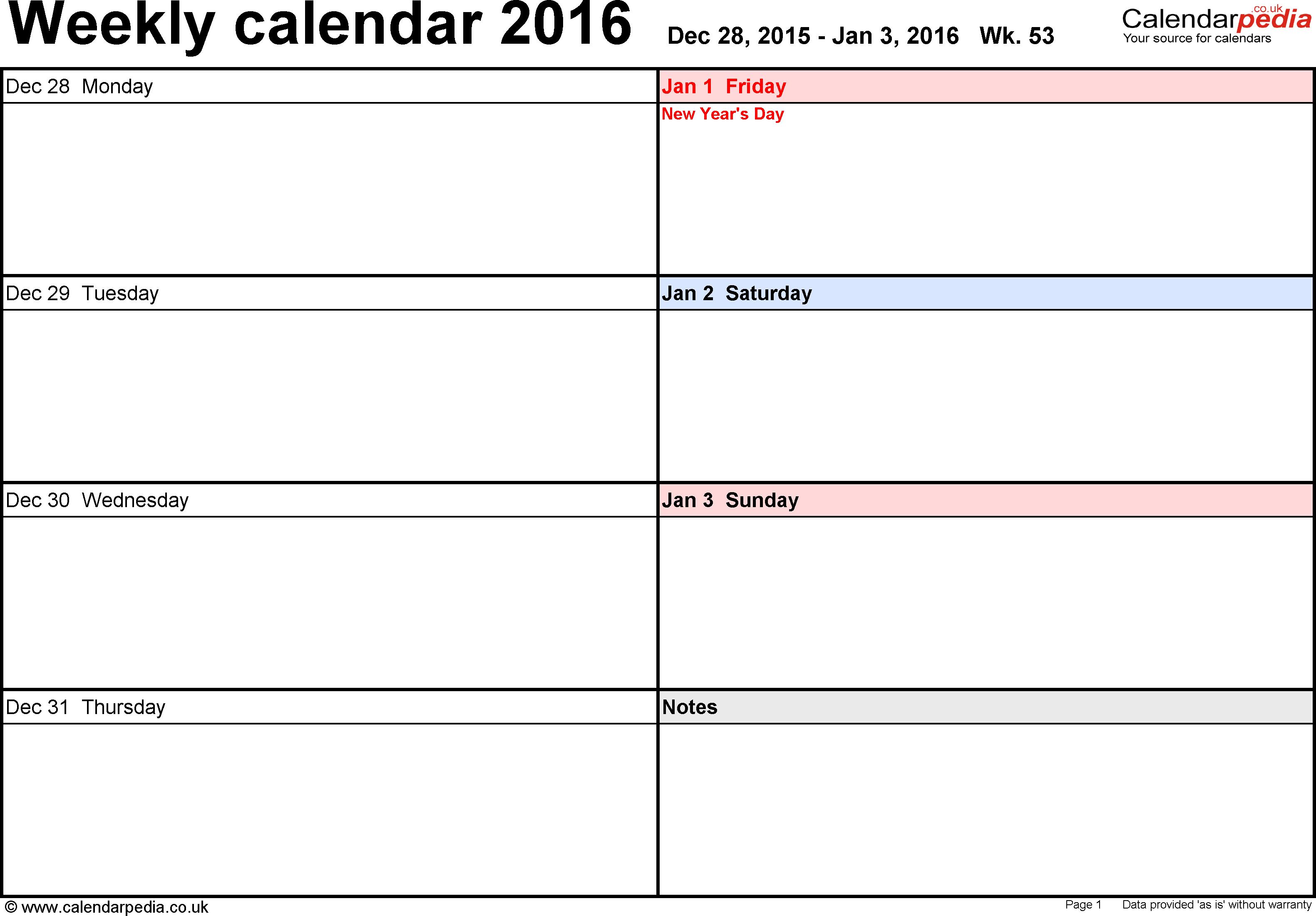 Weekly calendar 2016 UK - free printable templates for PDF