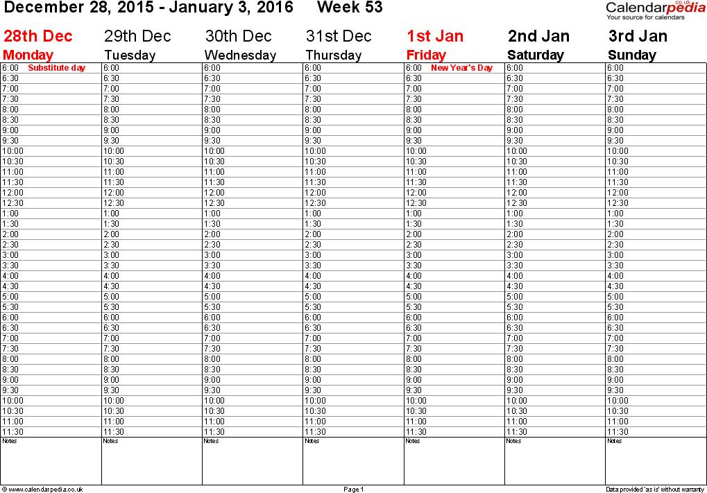 2 week calendar template 2015