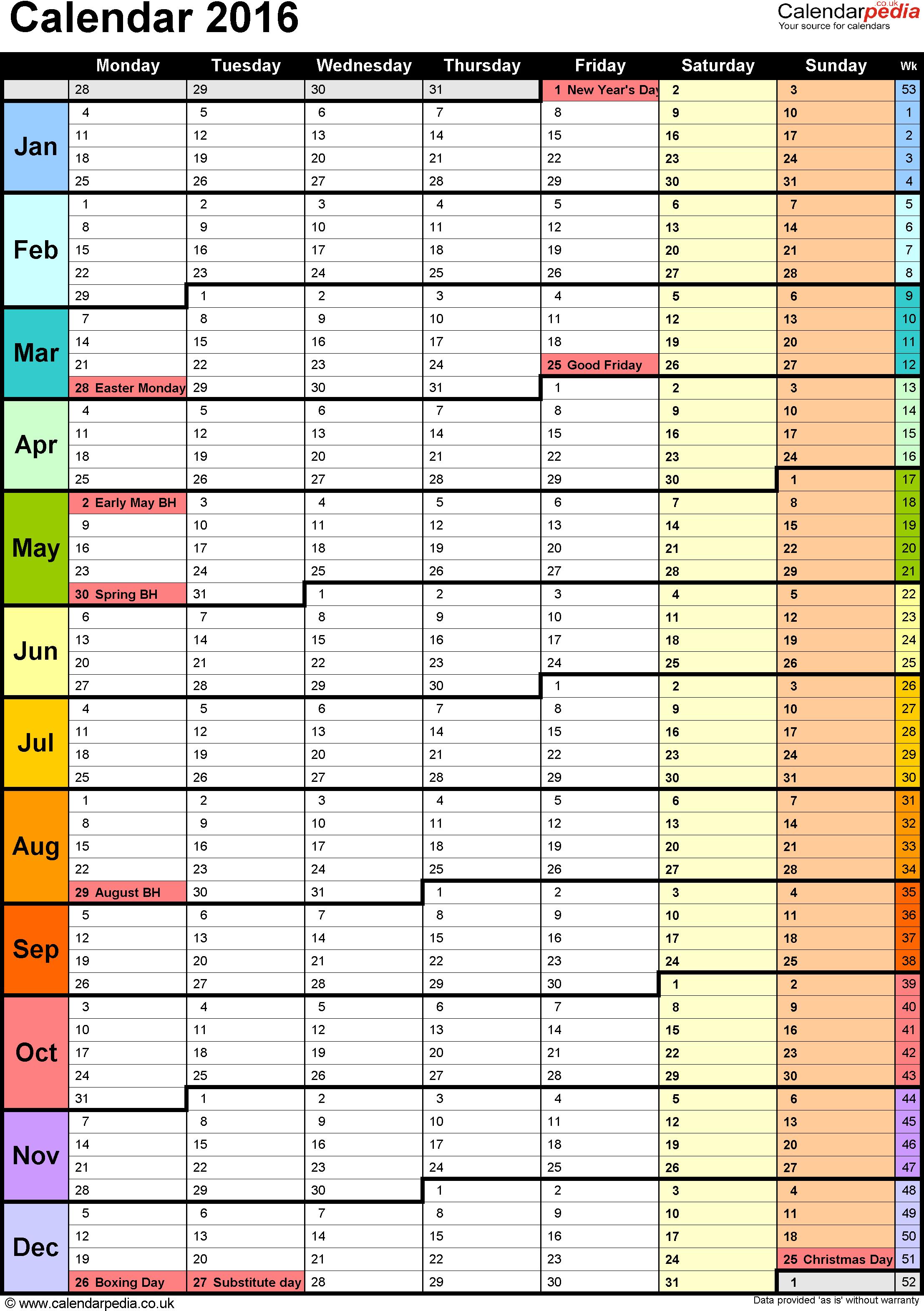 Excel Calendar Uk 16 Printable Templates Xlsx Free