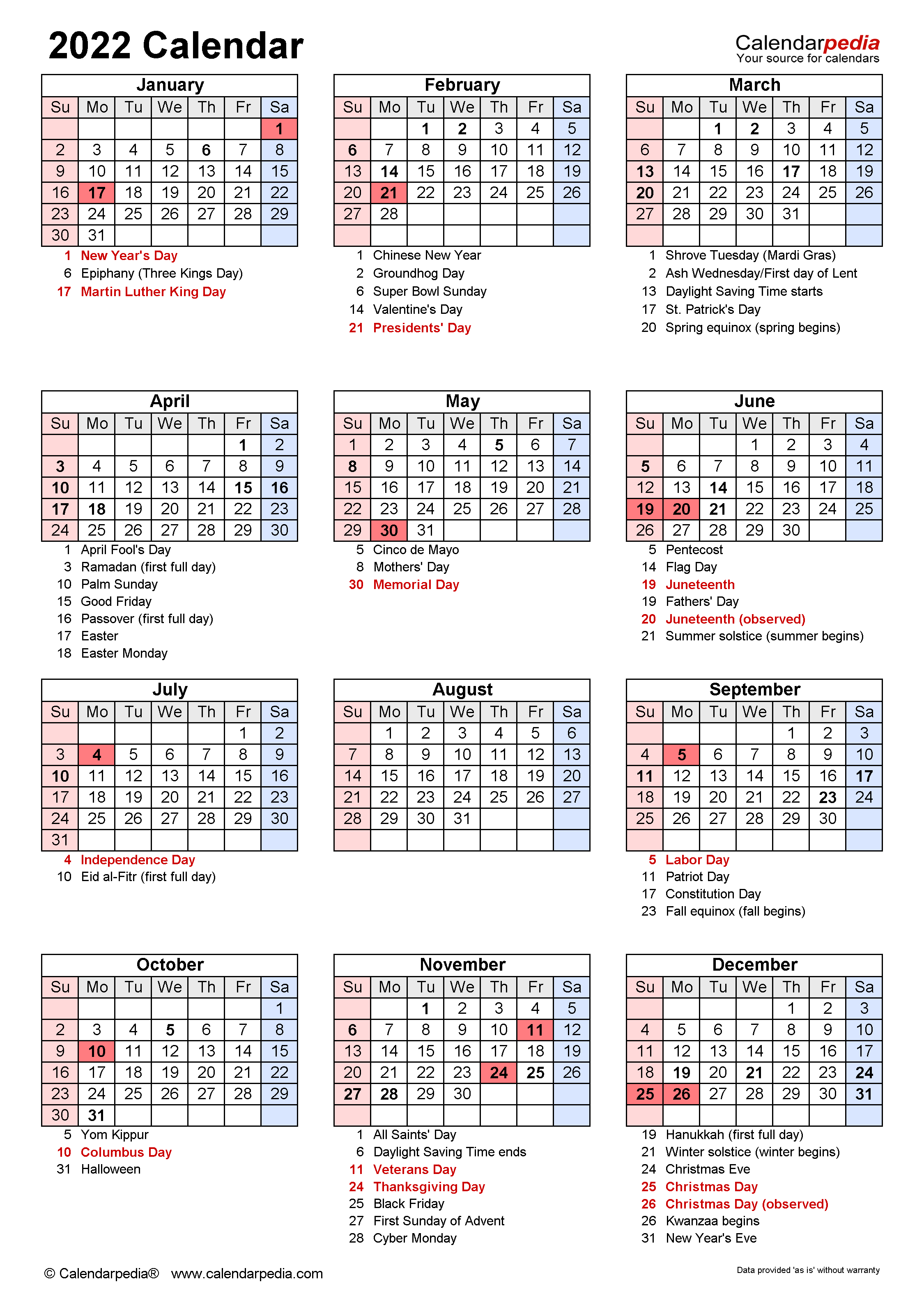 2022 Calendar - Free Printable Word Templates - Calendarpedia