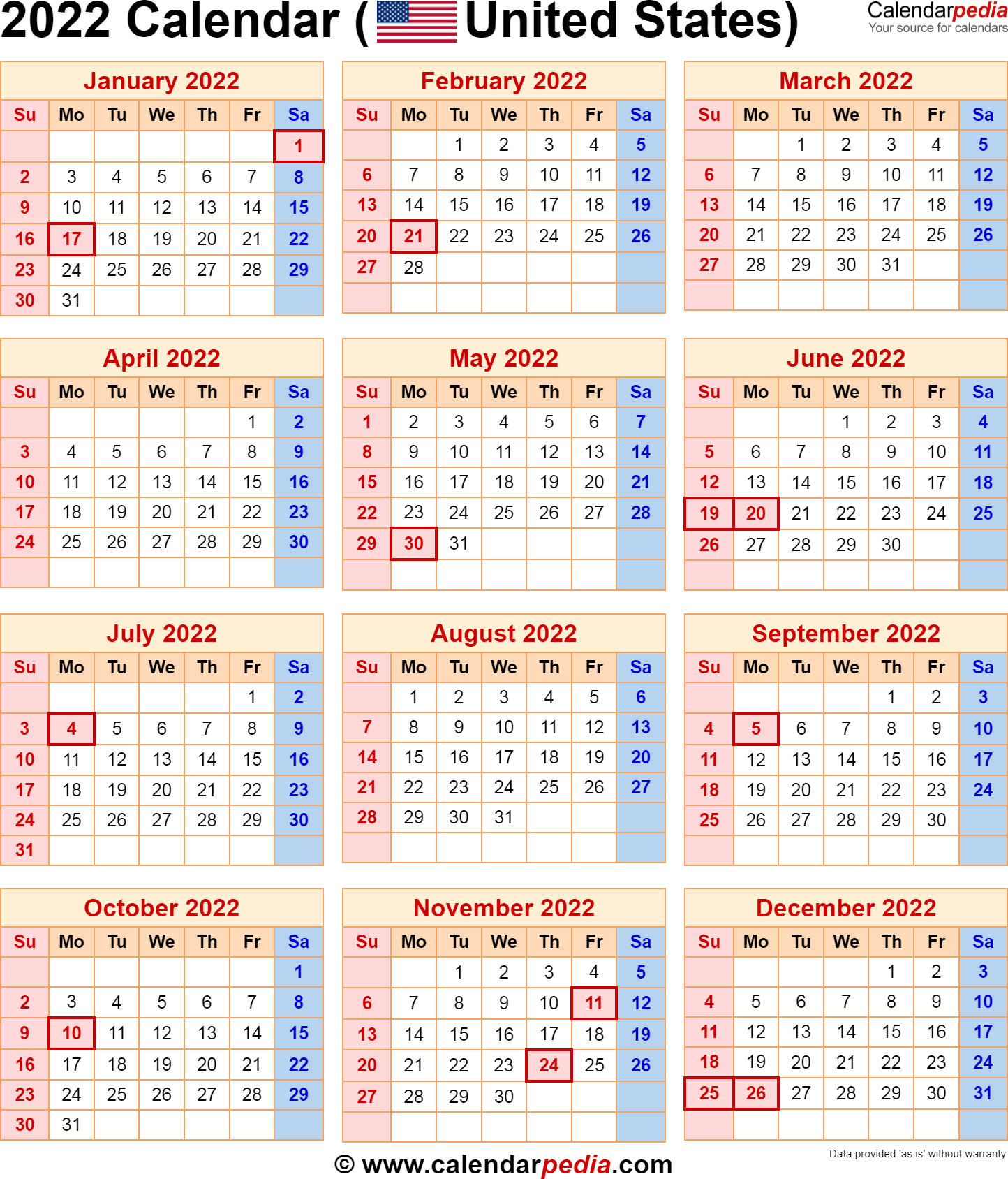 2022 Calendar with Federal Holidays