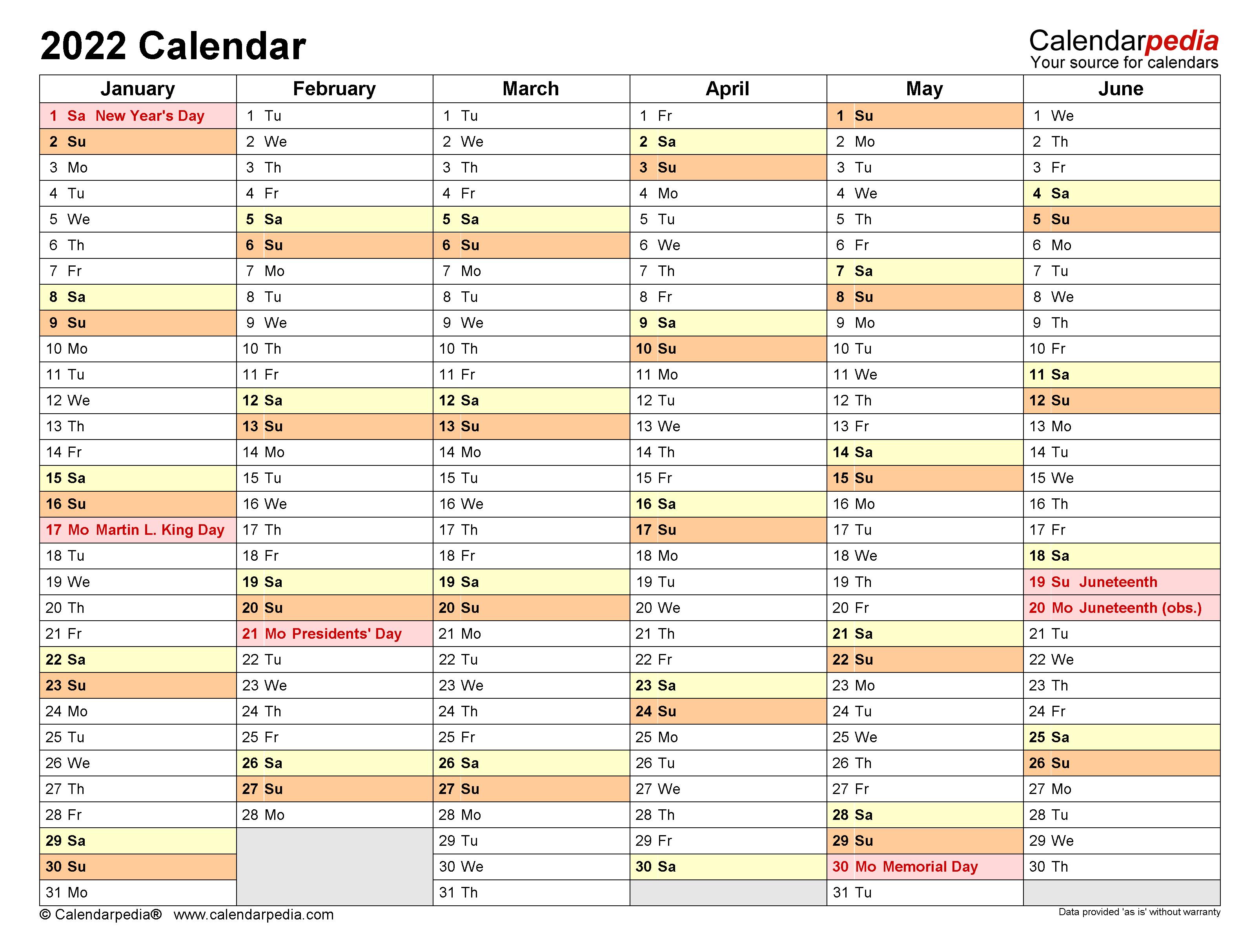 2022 Calendar - Free Printable Microsoft Word Templates
