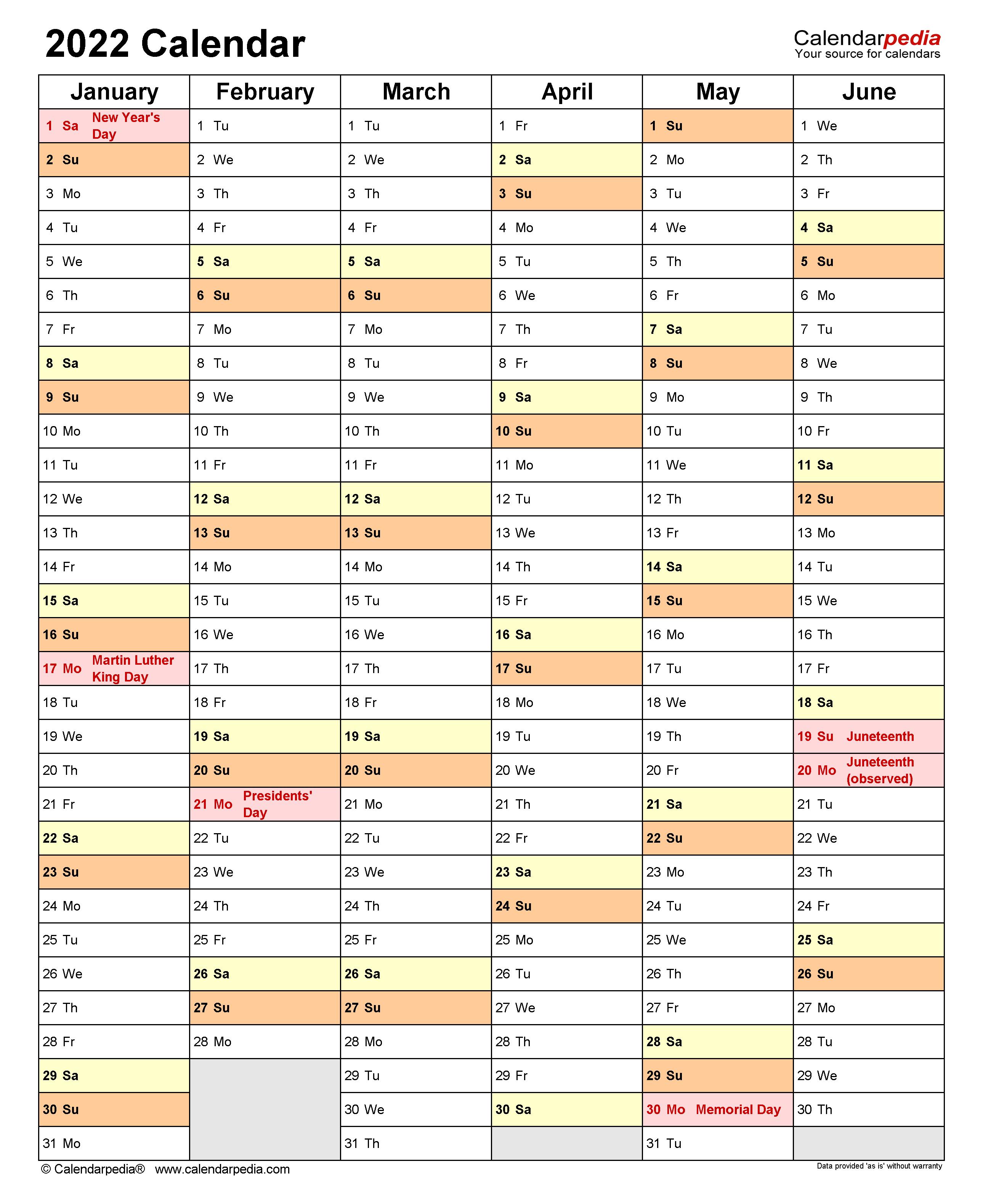2022 Calendar - Free Printable Templates
