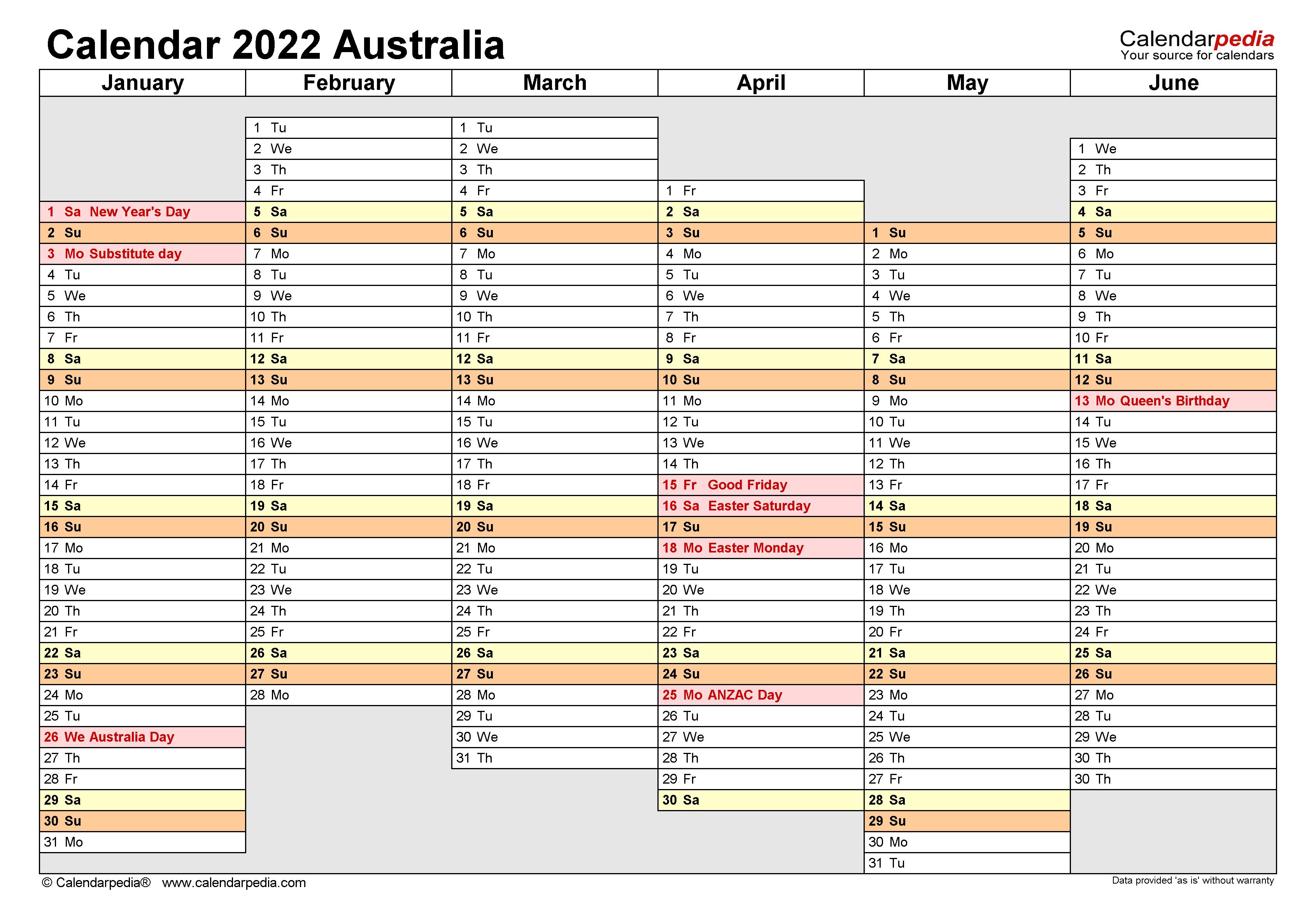 Australia Calendar 2022 - Free Printable Excel templates