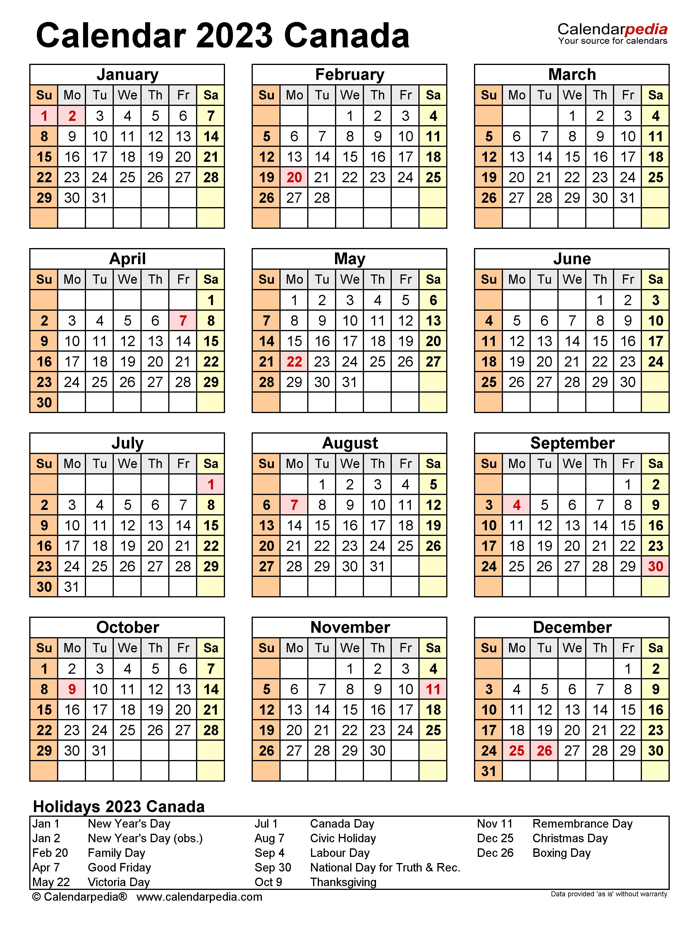 Canada Calendar 2023 - Free Printable PDF templates