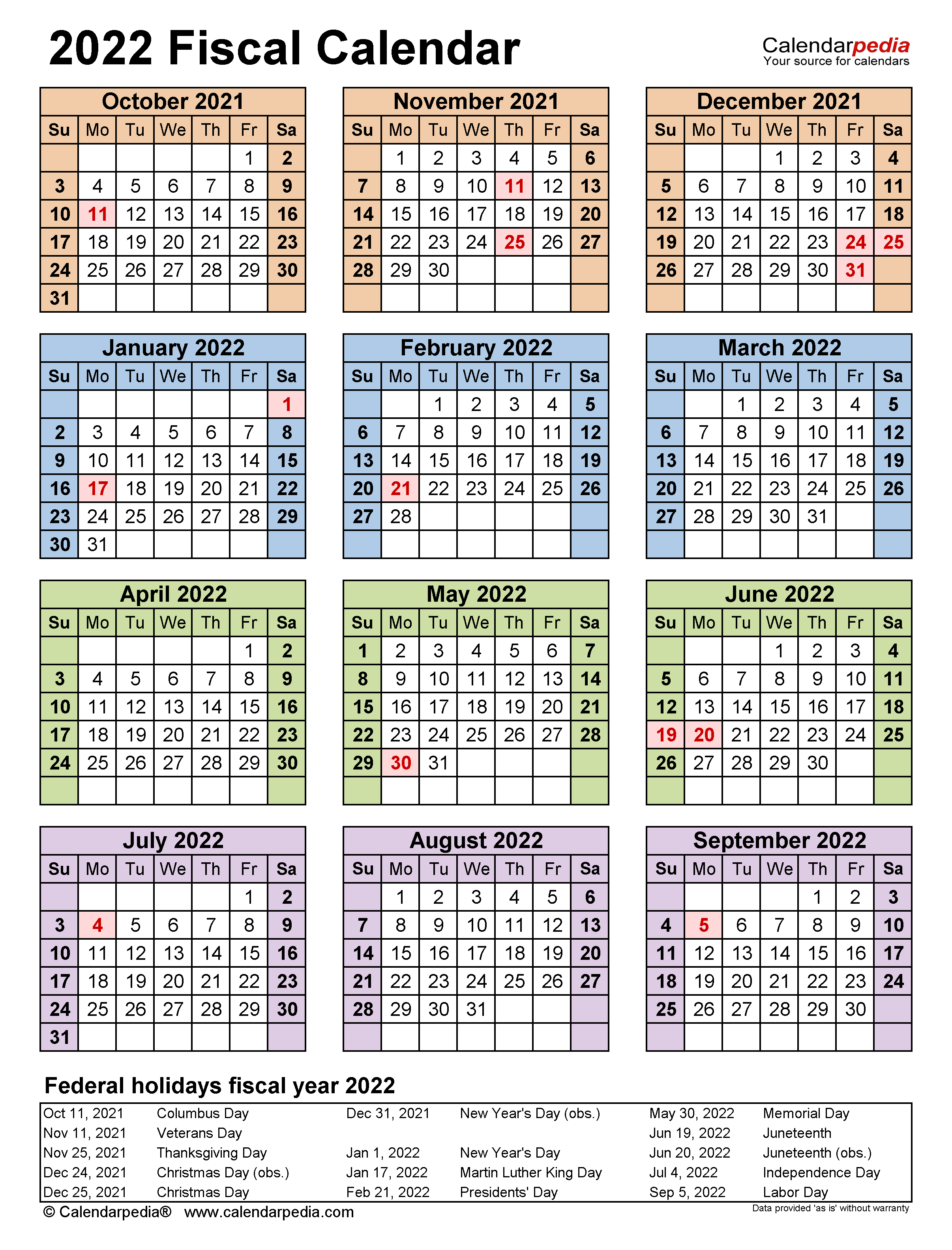 Fiscal Calendars 2022 - free printable Excel templates