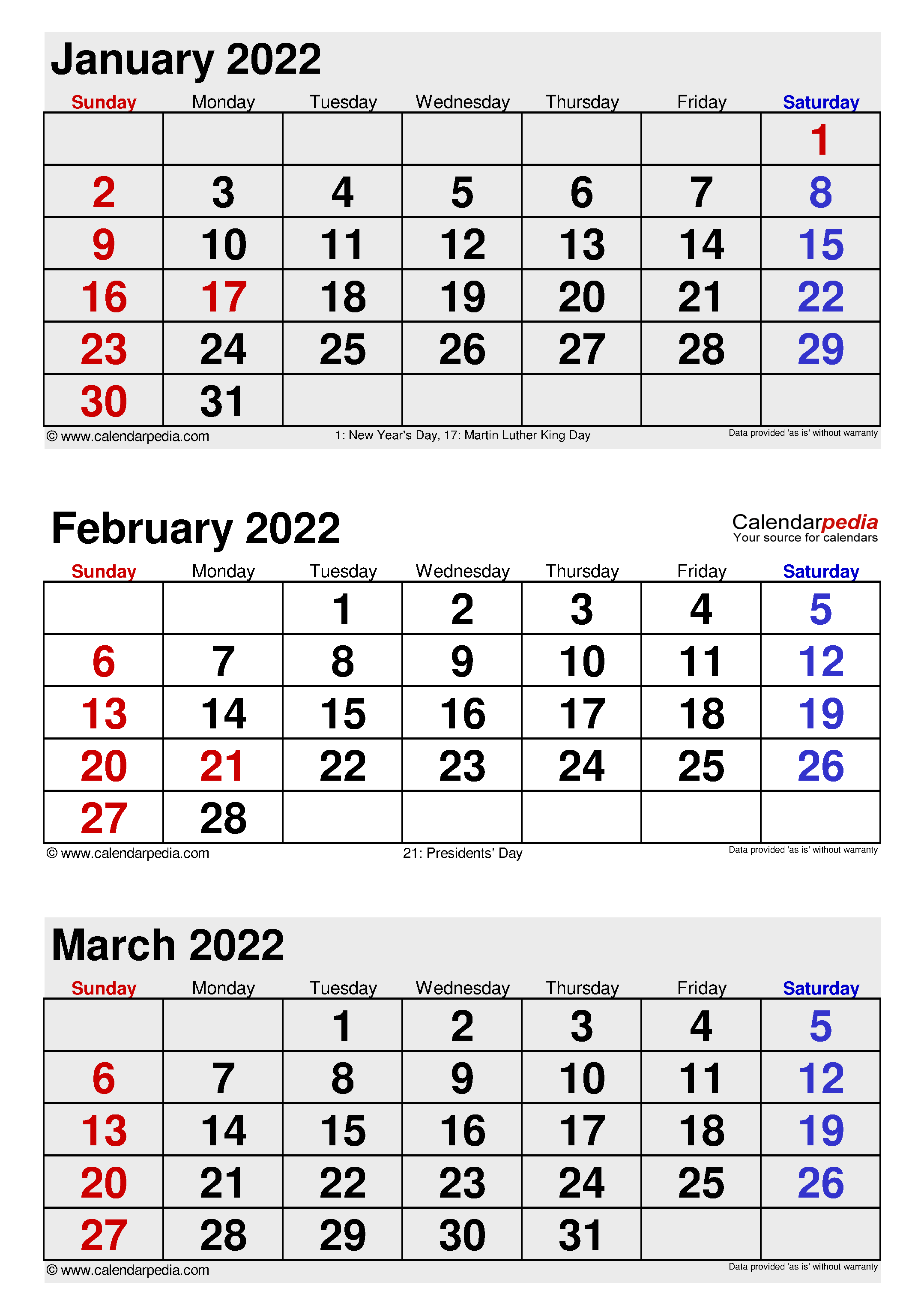 February 2022 Calendar | Templates for Word, Excel and PDF