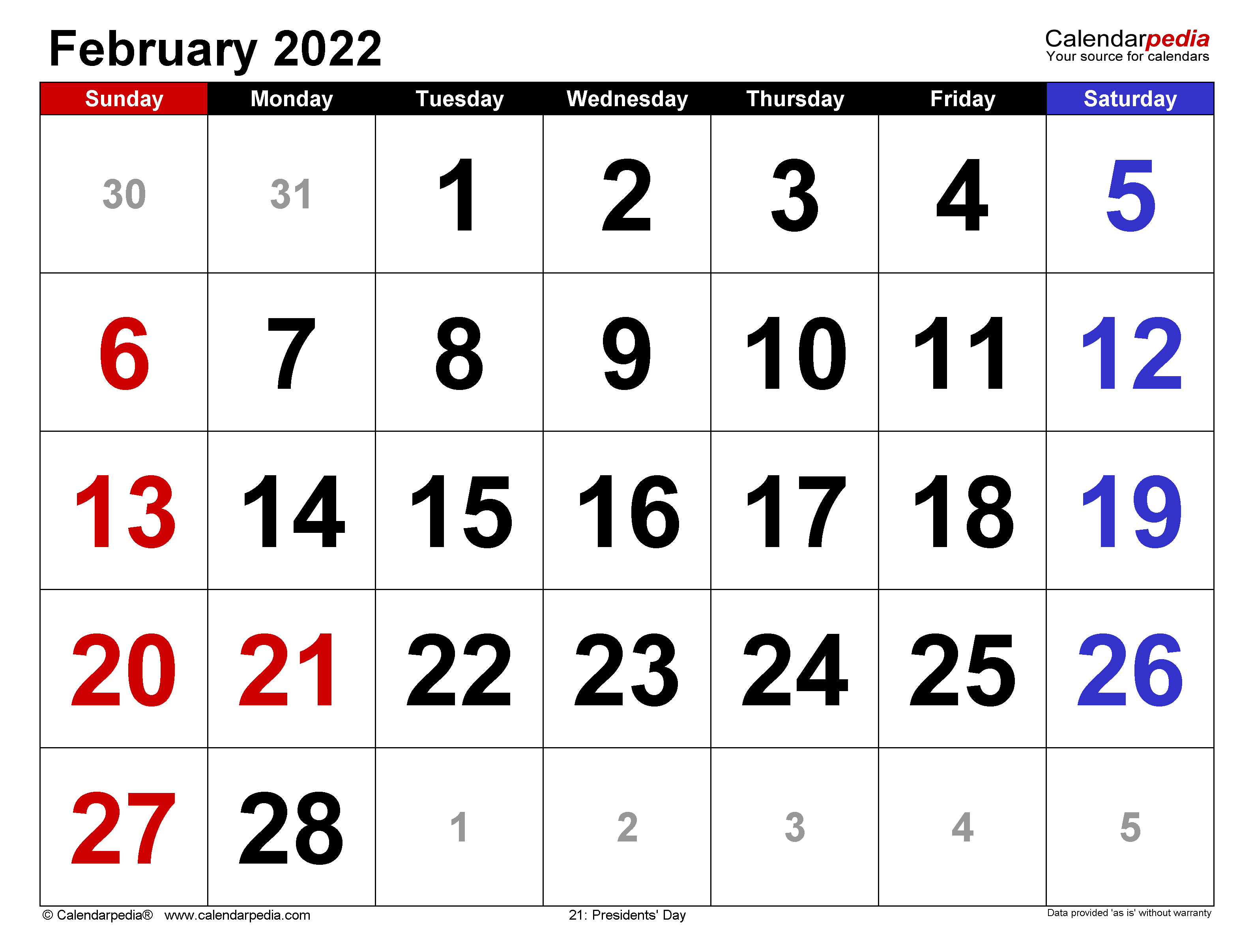 February 2022 - calendar templates for Word, Excel and PDF