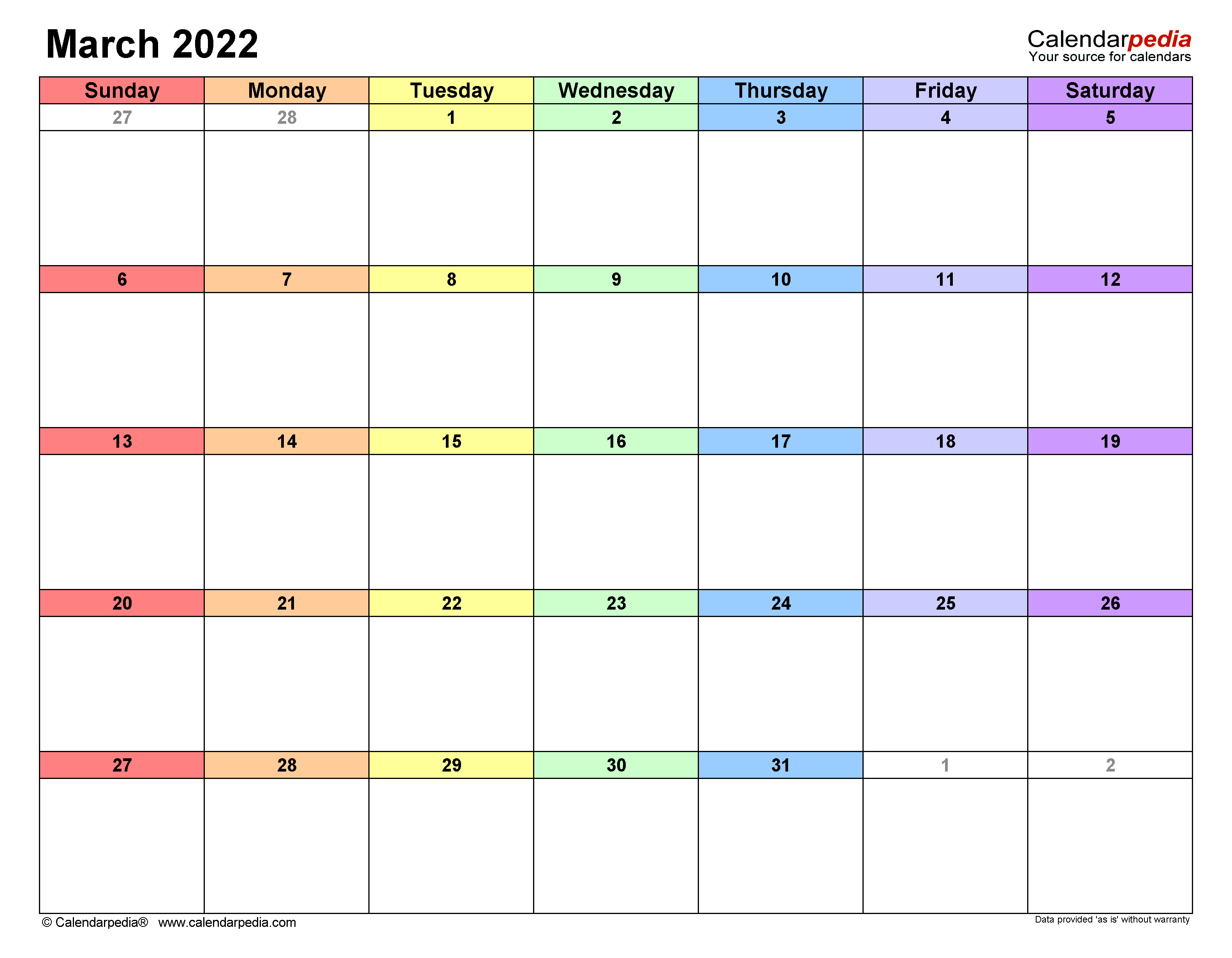 March 2022 Calendar | Templates for Word, Excel and PDF