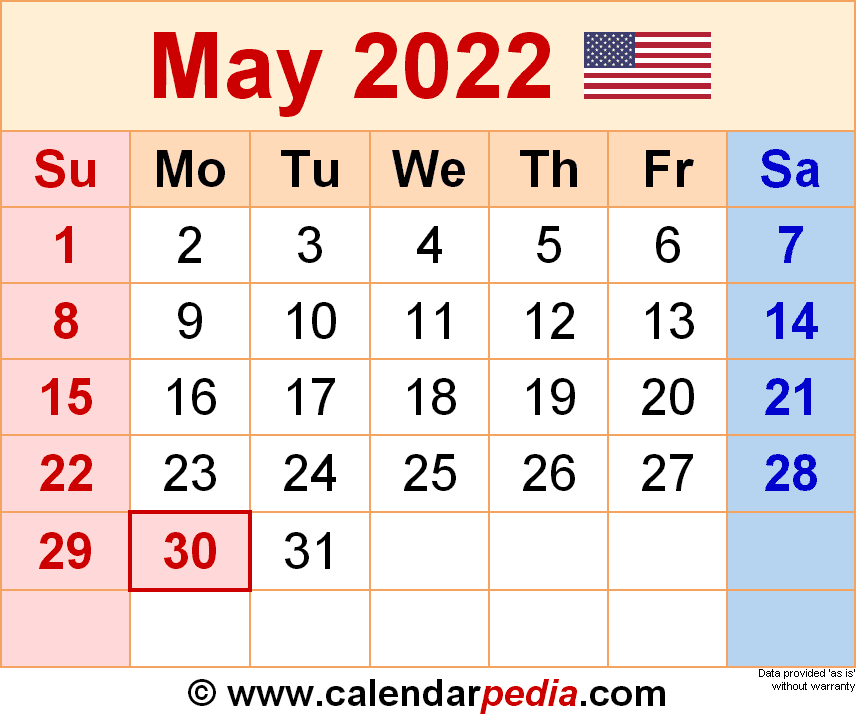 May 2022 - calendar templates for Word, Excel and PDF