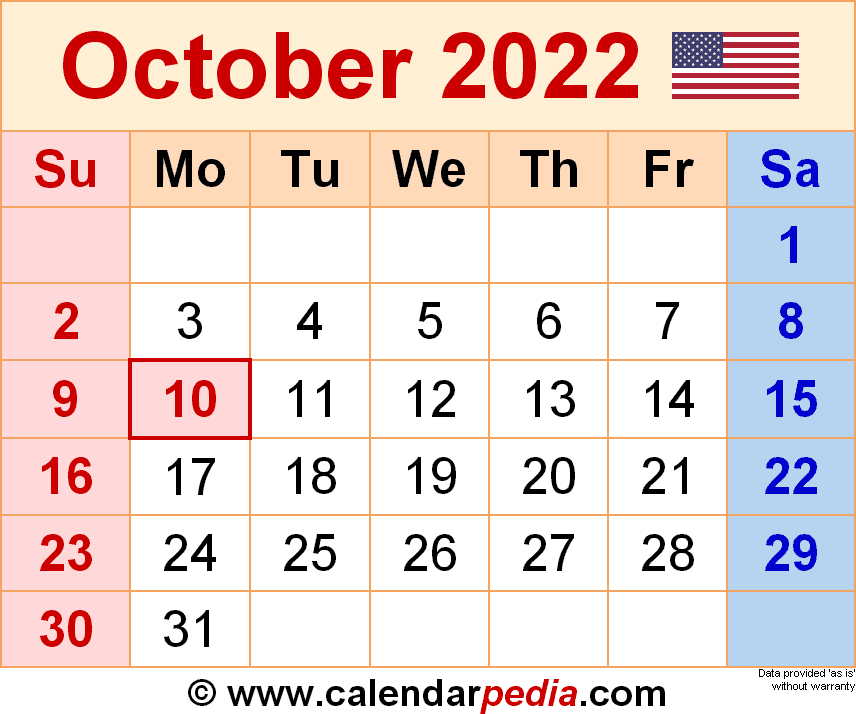 October 2022 - calendar templates for Word, Excel and PDF