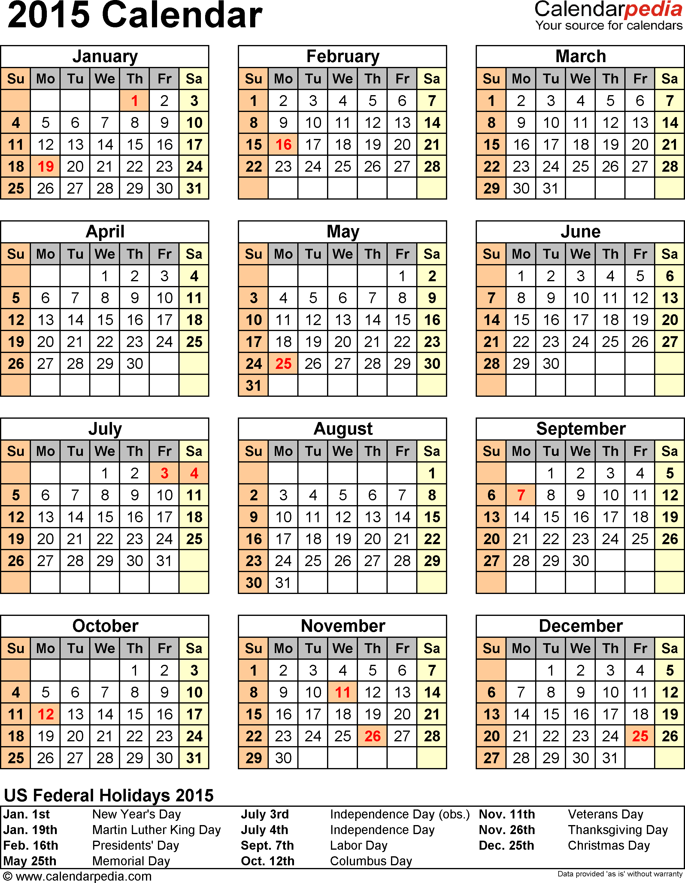 2015 calendar printable one page with holidays