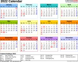 2022 Calendar - Free Printable Microsoft Excel Templates