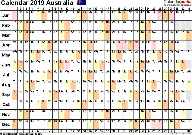 australia calendar 2019 free printable excel templates