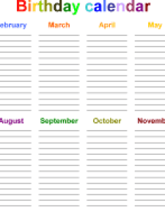 Template word for birthday calendar in color landscape orientation page also calendars free printable templates rh calendarpedia