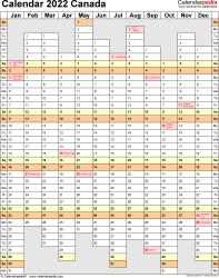 Canada Calendar 2022 - Free Printable Excel templates
