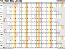 Canada Calendar 2022 - Free Printable Word Templates
