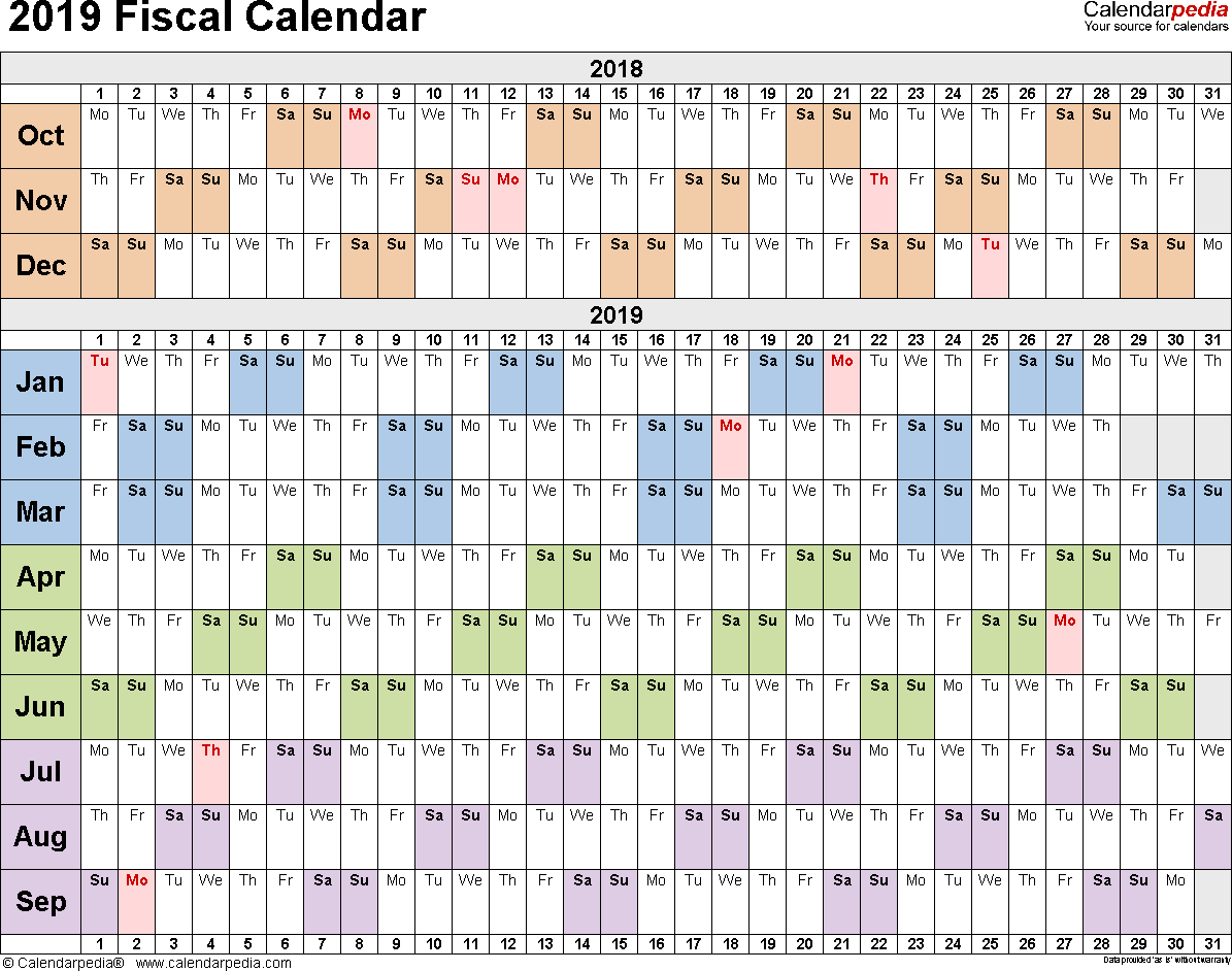 Template 2: Fiscal Year Calendar 2019 For Pdf, Landscape Orientation, Days  Horizontally (