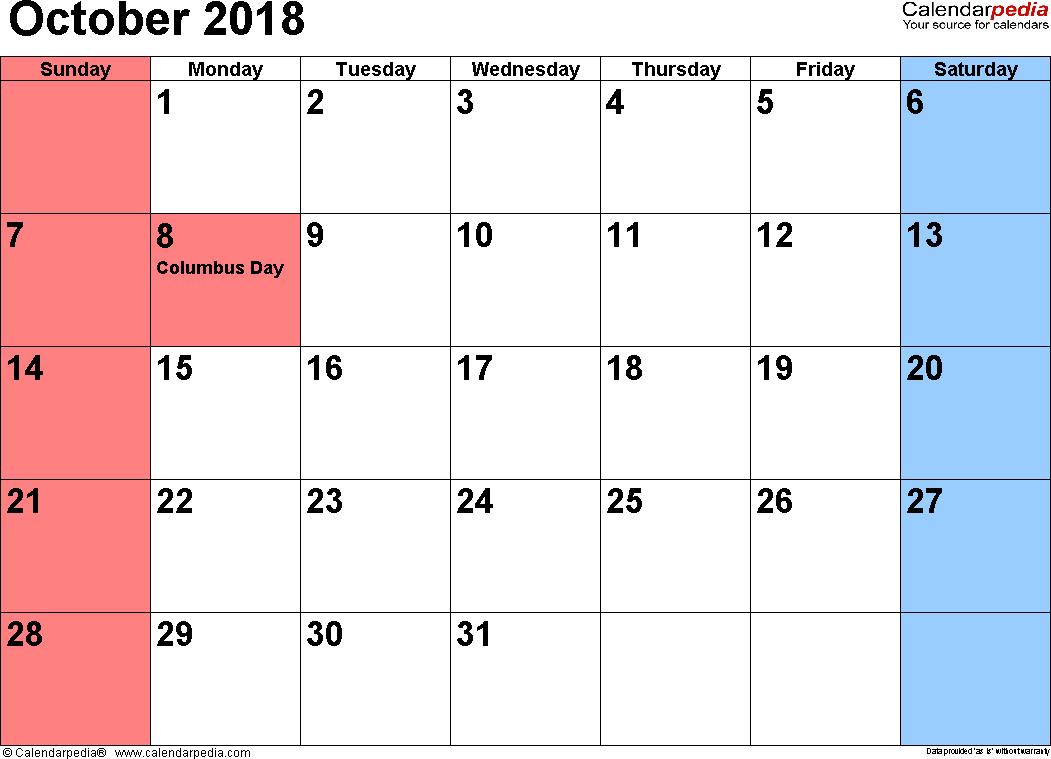 october 2018 calendars for