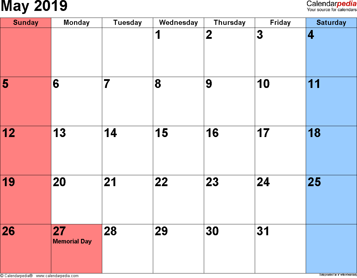 month of may 2019 calendar