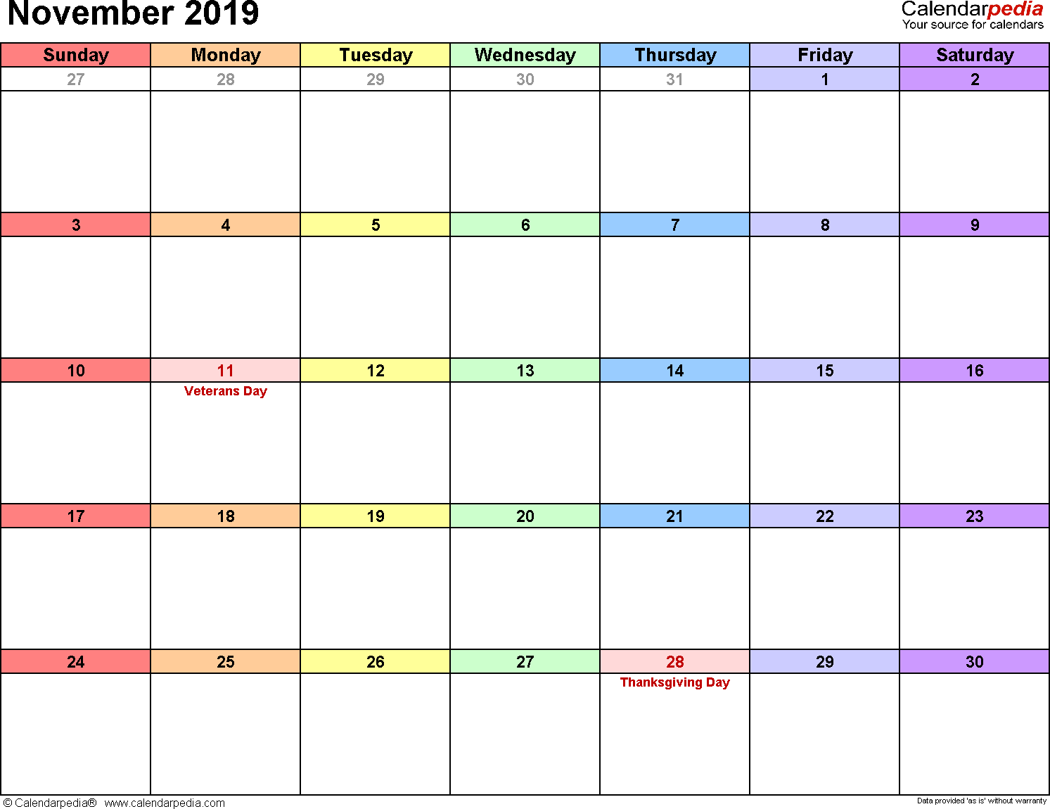 Sometimes it is handy to have a calendar for your current month on your cubical wall. November 2019 Calendar   Templates for Word, Excel and PDF