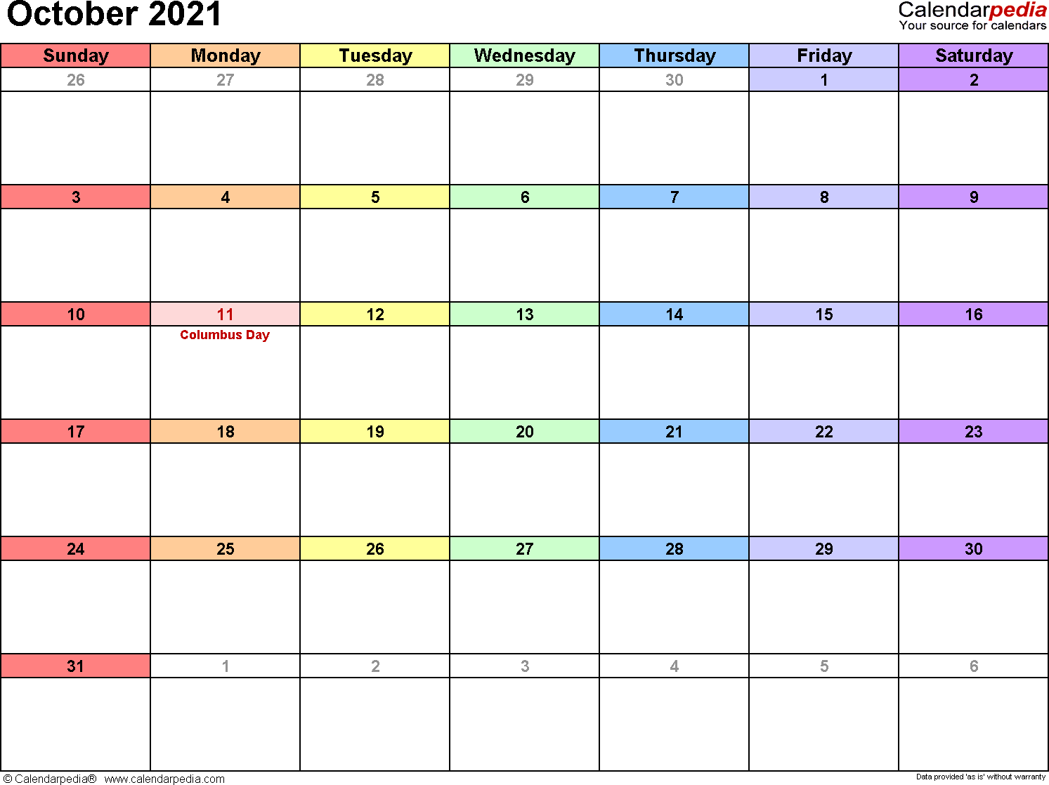 October 2021 - calendar templates for Word, Excel and PDF