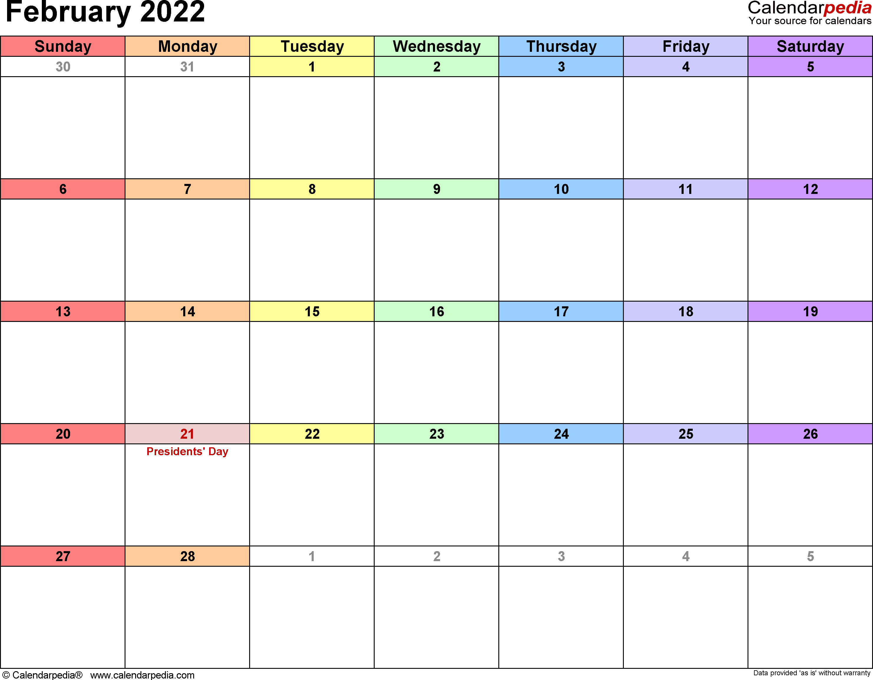 February 2022 Calendars for Word, Excel & PDF