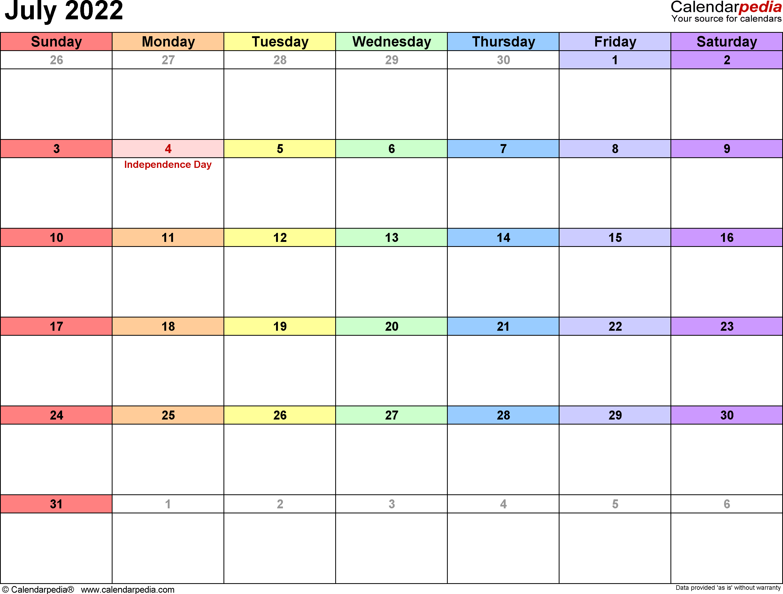 July 2022 - calendar templates for Word, Excel and PDF