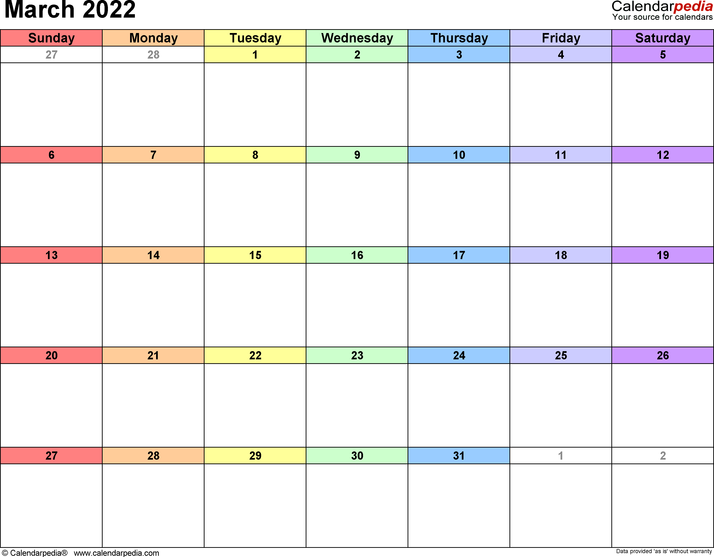 March 2022 Calendars for Word, Excel & PDF