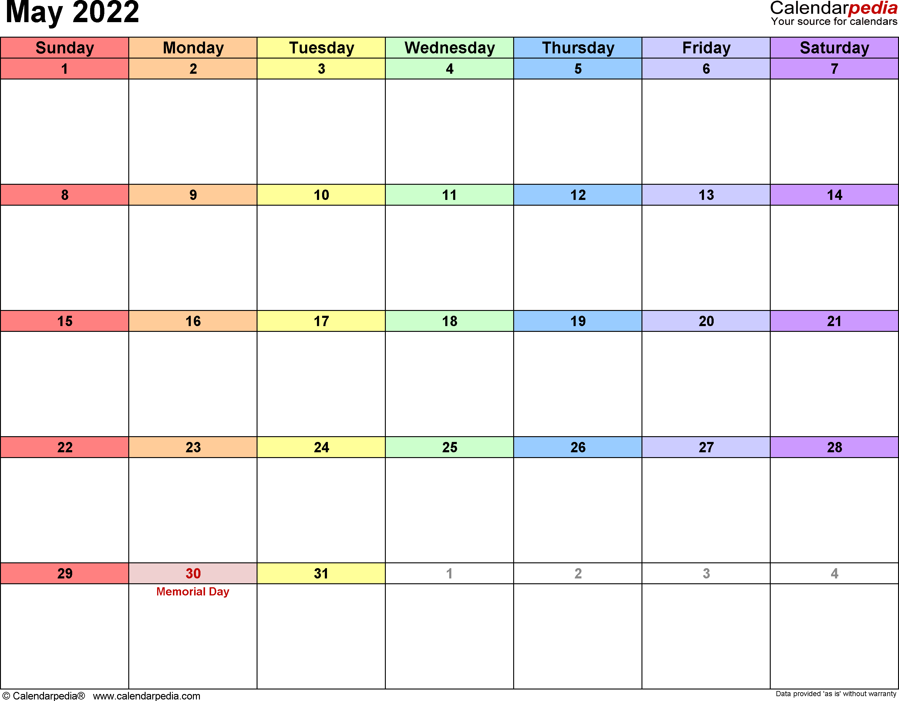 May 2022 Calendars for Word, Excel & PDF
