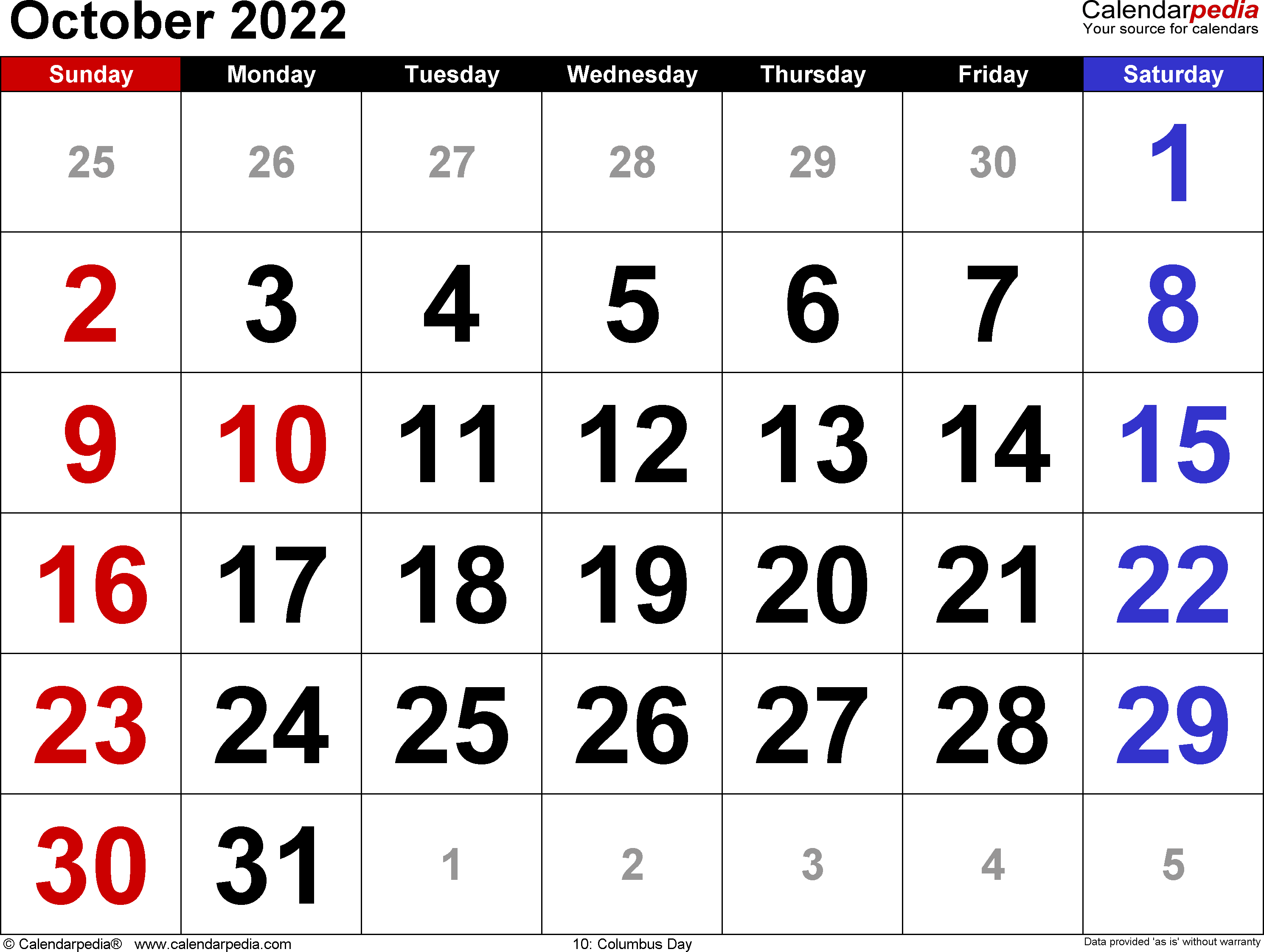 October 2022 Calendars for Word, Excel and PDF
