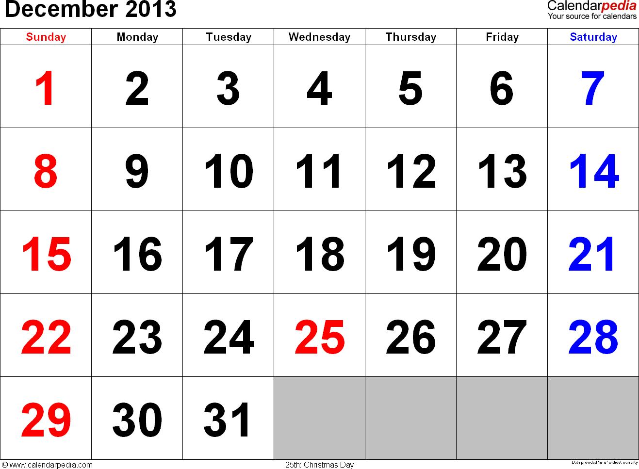 December Calendars For Word Excel Amp