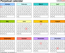 Template 5: Excel Template For Perpetual Calendar (Landscape Orientation, 1  Page)