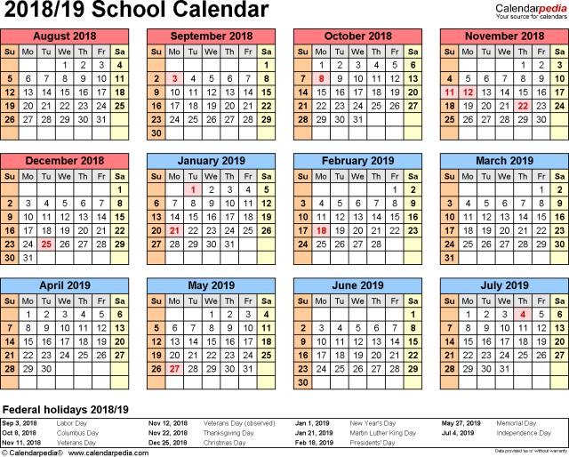 2018 Academic Calendar Template Free Download