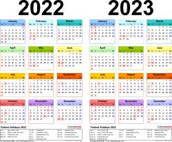 2022-2023 Two Year Calendar - Free Printable Microsoft ...