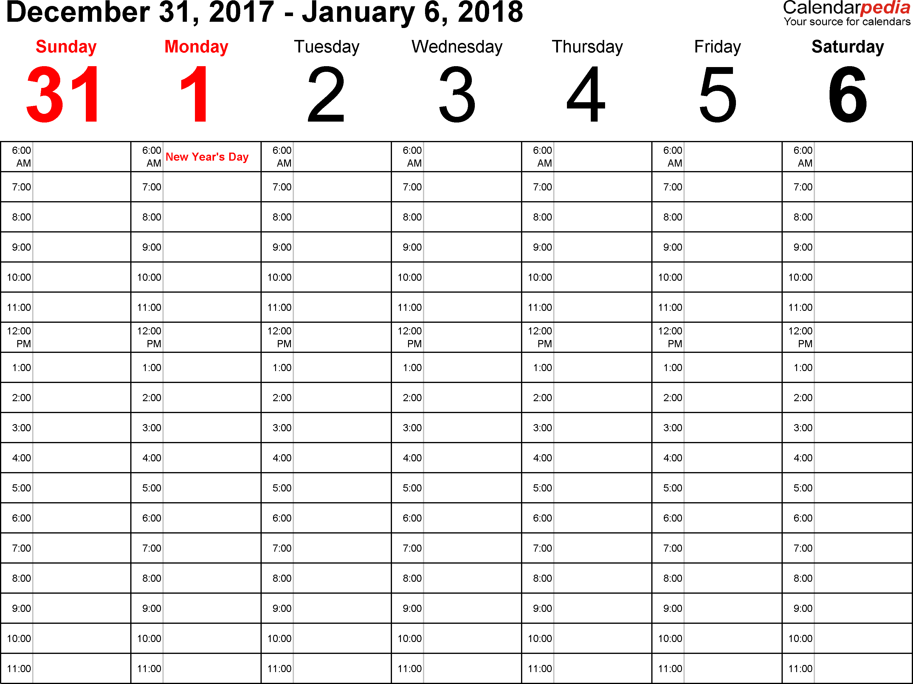 weekly calendar 2018 for