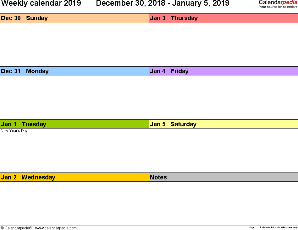 Weekly Calendars 2019 for PDF - 12 free printable templates