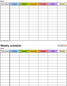 Weekly schedule template for pdf version schedules on one page portrait also free templates rh calendarpedia