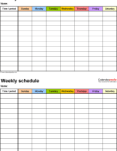 Weekly schedule template for excel version timetables on one page portrait also free templates rh calendarpedia