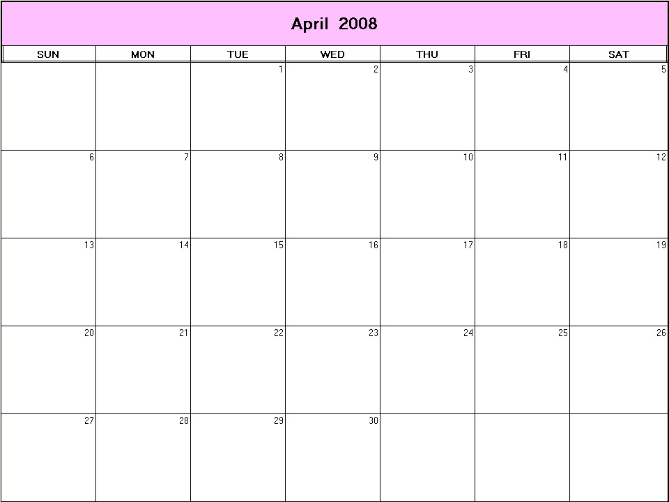 April 2008 printable blank calendar - Calendarprintables.net
