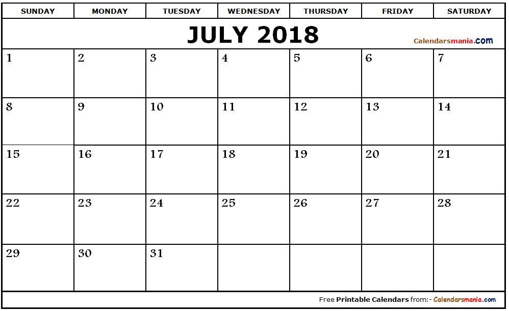 july 2018 calendar page