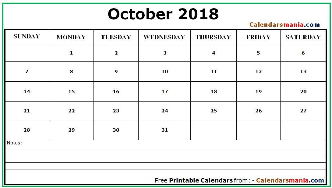 october 2018 calendar with